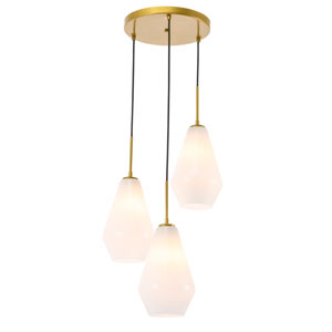 Gene Brass Three-Light Pendant with Frosted White Glass
