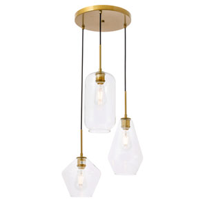 Gene Brass 17-Inch Three-Light Pendant with Clear Glass