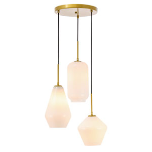 Gene Brass 17-Inch Three-Light Pendant with Frosted White Glass