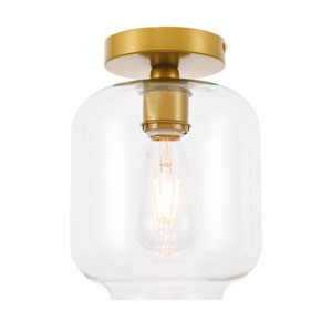 Collier Brass Seven-Inch One-Light Flush Mount with Clear Glass