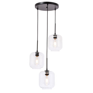 Collier Black 18-Inch Three-Light Pendant with Clear Glass
