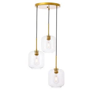 Collier Brass 18-Inch Three-Light Pendant with Clear Glass