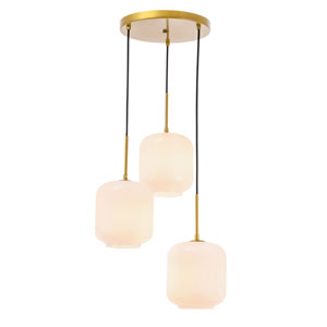 Collier Brass 18-Inch Three-Light Pendant with Frosted White Glass
