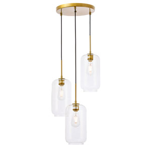 Collier Brass 16-Inch Three-Light Pendant with Clear Glass