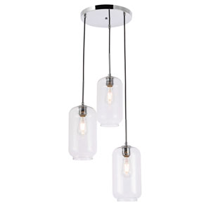 Collier Chrome 16-Inch Three-Light Pendant with Clear Glass