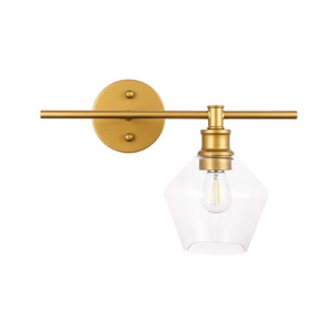 Gene Brass One-Light Bath Vanity with Clear Glass