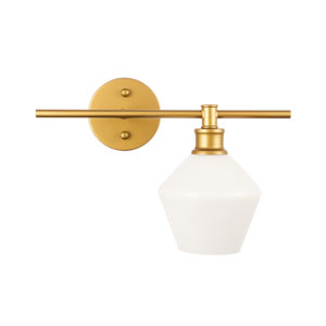 Gene Brass One-Light Bath Vanity with Frosted White Glass