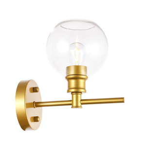 Collier Brass Six-Inch One-Light Bath Vanity with Clear Glass