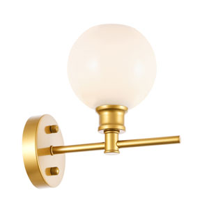 Collier Brass Six-Inch One-Light Bath Vanity with Frosted White Glass