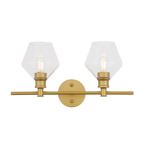 Gene Brass Two-Light Bath Vanity with Clear Glass