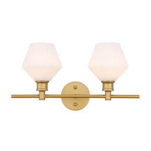 Gene Brass Two-Light Bath Vanity with Frosted White Glass