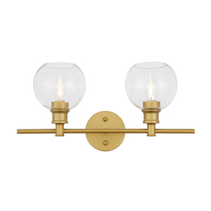 Collier Brass Two-Light Bath Vanity with Clear Glass