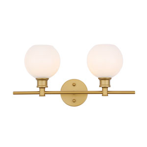 Collier Brass Two-Light Bath Vanity with Frosted White Glass