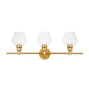 Gene Brass Three-Light Bath Vanity with Clear Glass