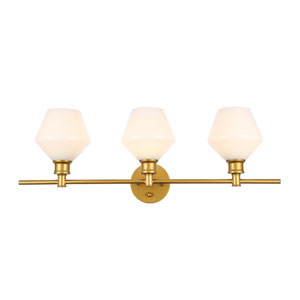 Gene Brass Three-Light Bath Vanity with Frosted White Glass