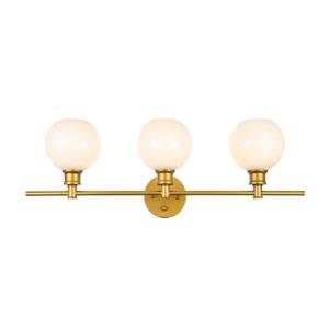 Collier Brass Three-Light Bath Vanity with Frosted White Glass