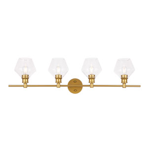 Gene Brass Four-Light Bath Vanity with Clear Glass