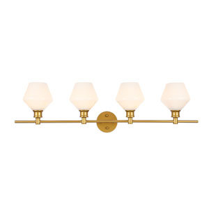 Gene Brass Four-Light Bath Vanity with Frosted White Glass
