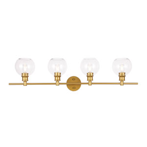 Collier Brass Four-Light Bath Vanity with Clear Glass