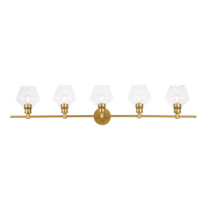 Gene Brass Five-Light Bath Vanity with Clear Glass