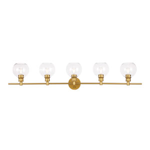 Collier Brass Five-Light Bath Vanity with Clear Glass