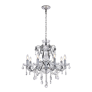 Voltaire Chrome Eight-Light Chandelier