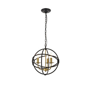 Octavia Brass and Dark Brown 14-Inch Three-Light Pendant