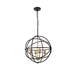 Octavia Brass and Dark Brown 18-Inch Four-Light Pendant
