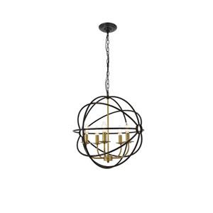 Octavia Brass and Dark Brown 20-Inch Five-Light Pendant