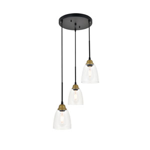 Felicity Brass and Black Three-Light Pendant