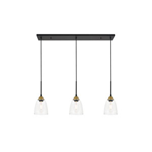 Felicity Brass and Black 38-Inch Three-Light Pendant