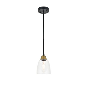 Felicity Brass and Black Six-Inch One-Light Mini Pendant