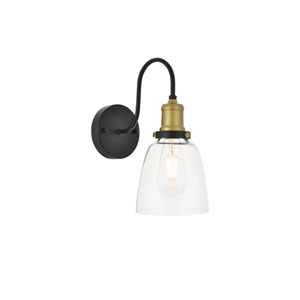 Felicity Brass and Black Six-Inch One-Light Wall Sconce