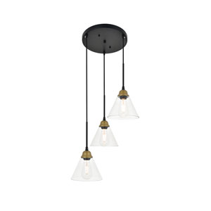 Histoire Brass and Black 18-Inch Three-Light Pendant