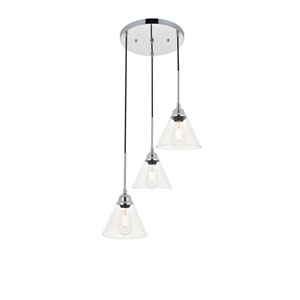 Histoire Chrome 18-Inch Three-Light Pendant