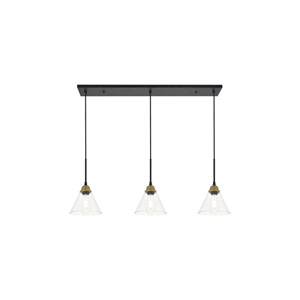 Histoire Brass and Black 40-Inch Three-Light Pendant