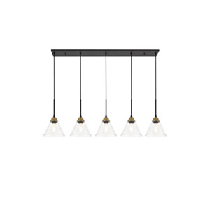 Histoire Brass and Black Five-Light Pendant