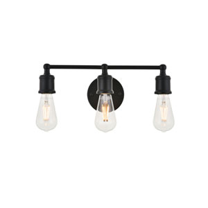 Serif Black Three-Light Wall Sconce