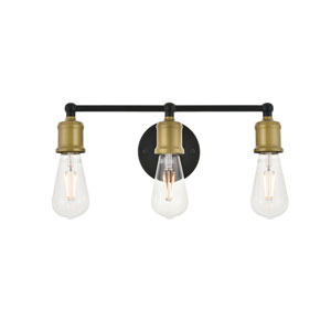 Serif Brass and Black Three-Light Wall Sconce