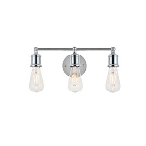 Serif Chrome Three-Light Wall Sconce