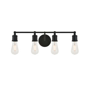 Serif Black Four-Light Wall Sconce