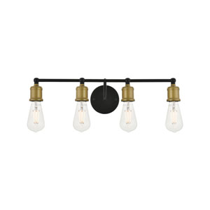 Serif Brass and Black Four-Light Wall Sconce