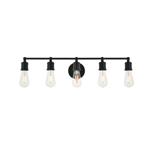 Serif Black Five-Light Wall Sconce