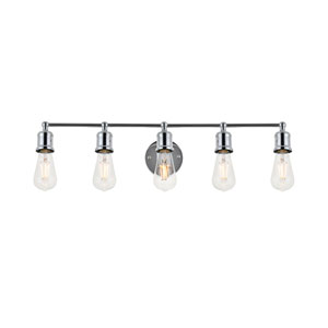 Serif Chrome Five-Light Wall Sconce