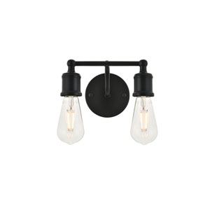 Serif Black Two-Light Wall Sconce