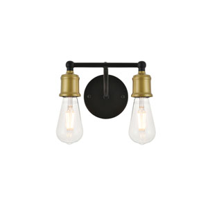 Serif Brass and Black Two-Light Wall Sconce