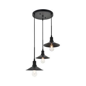 Etude Black 19-Inch Three-Light Pendant