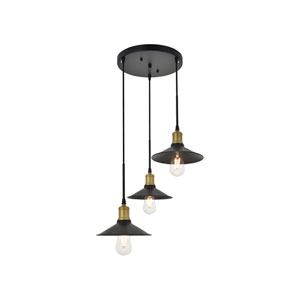 Etude Brass and Black 19-Inch Three-Light Pendant