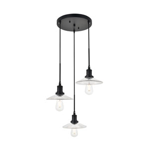 Waltz Black 19-Inch Three-Light Pendant