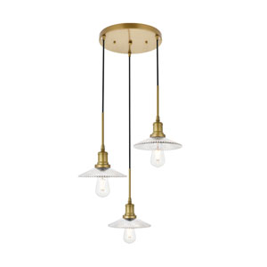 Waltz Brass 19-Inch Three-Light Pendant